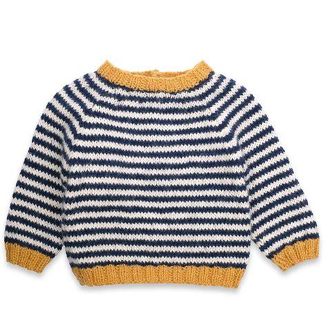 Sweater Knit Babyteri White Stripe blue and yellow striped sweater sweater