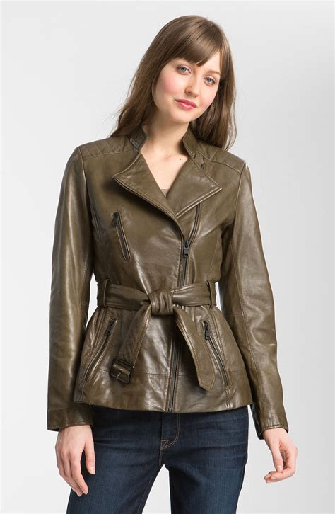 Leather Nyc by Marc New York Belted Leather Jacket In Brown Olive Lyst