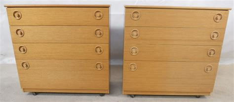 pair small light wood chest of drawers by schreiber sold