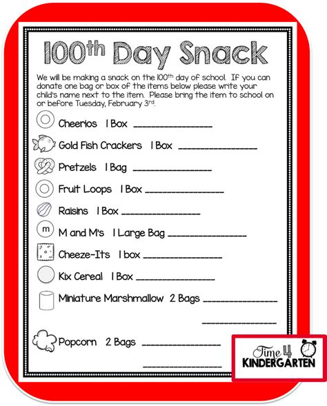Parent Letter Requesting Snacks Time 4 Kindergarten How To Celebrate The 100th Day Of School