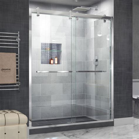 bypass glass shower doors dreamline cavalier 56 in to 60 in x 77 375 in frameless