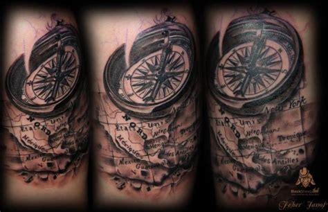 tattoo compass mit karte schulter kompass karte tattoo von blacksheep ink
