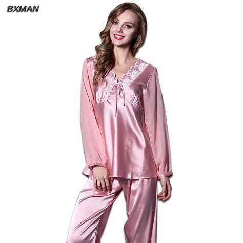 Pajamas Rayon bxman brand pajamas silk pajamas 95 rayon pink embroidered v neck sleeve