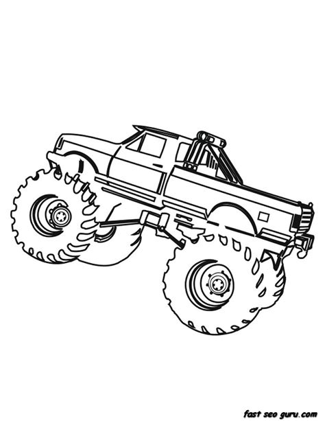 printable monster truck coloring page for boy printable