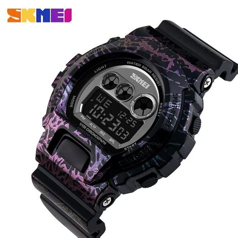 Jam Tangan Pria Digital Skmei Sport Rubber Led Original 1119 Biru skmei jam tangan digital pria dg1150 black purple jakartanotebook