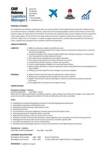 Transport Manager Sle Resume by Logistics Manager Cv Template Exle Description Supply Chain Manager Delivery Of Goods C