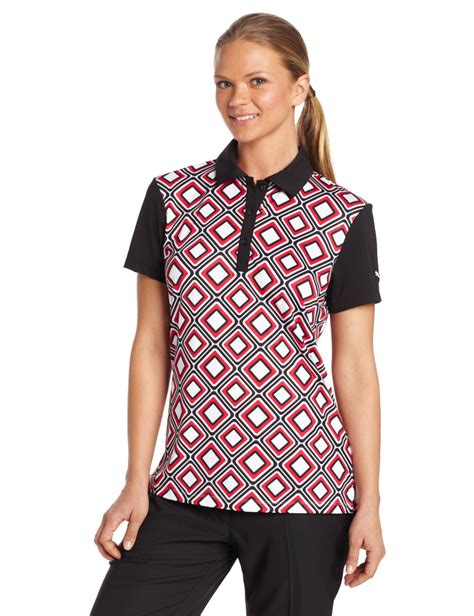 pattern golf shirt puma womens tile pattern golf polo shirts