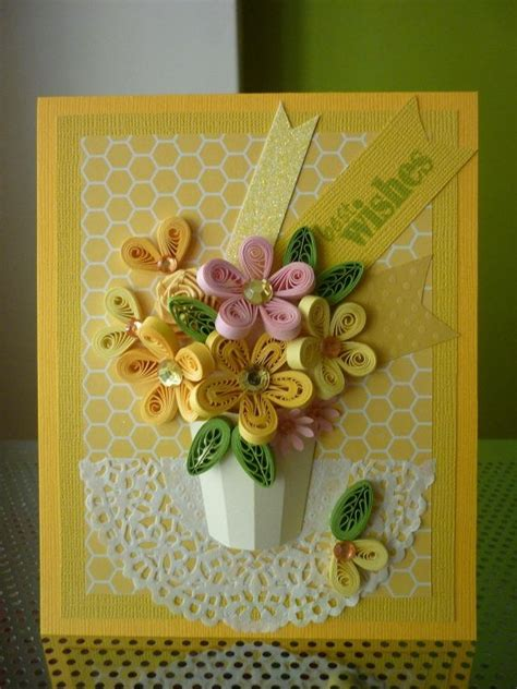 Paper Greeting Cards - handmade yellow greeting paper quilling card quot best wishes