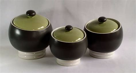 Green Kitchen Canister Set by Set Of 3 Pfaltzgraff Sphere Charcoal Grey Avocado Green