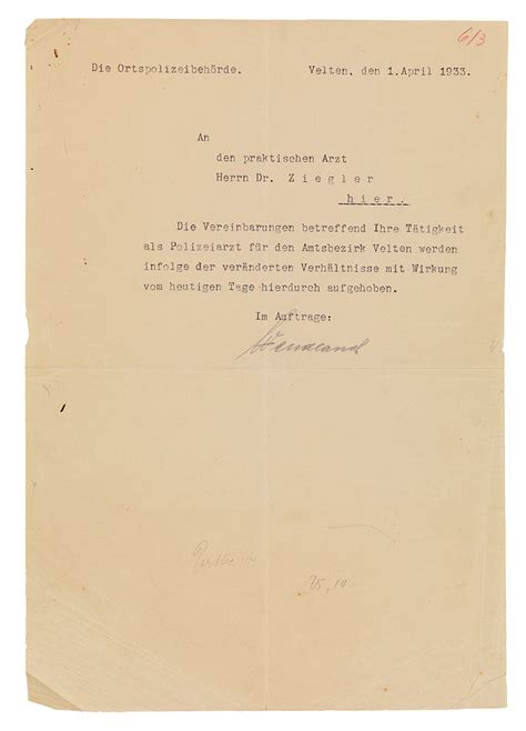 cancellation letter in german letter dismissing heinrich ziegler from his position at