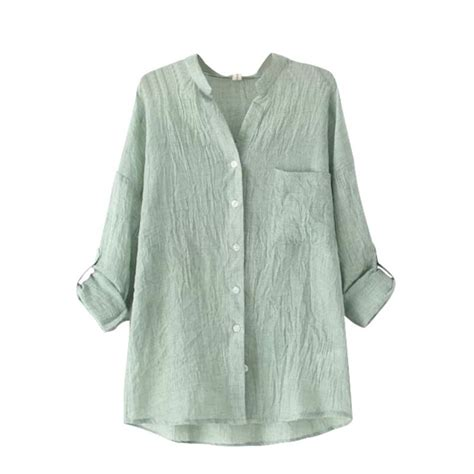 Linen Cotton Sleeve Shirt womens casual cotton linen blouses sleeve tops sheer