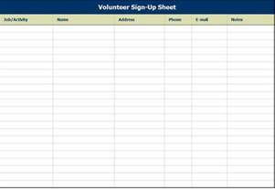 volunteer sign up sheet template sample free download