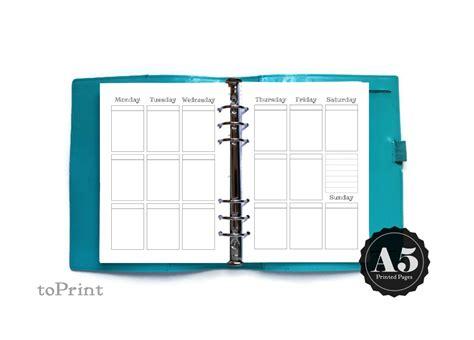 Binder Polos Coklat A5 20 Ring Binderagendajurnal vertical weekly boxes layout pecan sandies