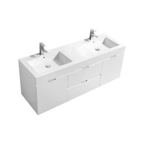 wall mount double sink bliss 60 quot high gloss white wall mount double sink vanity