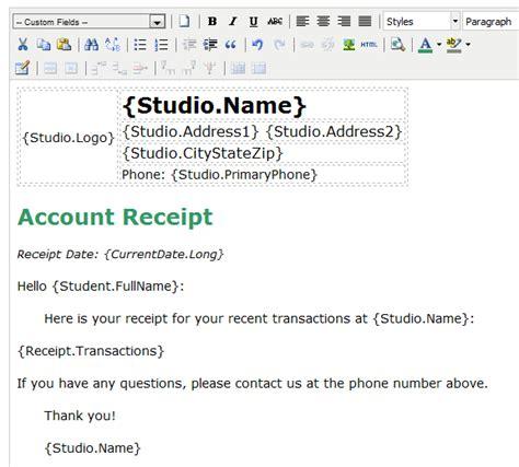 studioware online com help receipts