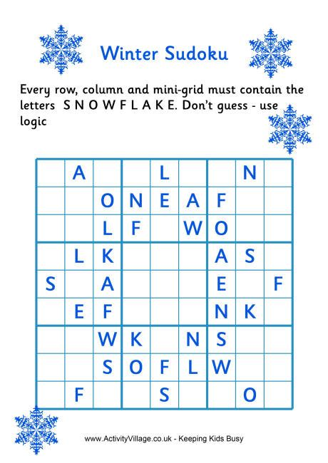 printable holiday sudoku winter sudoku difficult