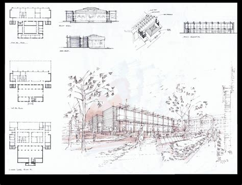 Floor Plan With Elevation And Perspective | h2l2 feasibility study bucknell university art building