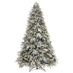 sterling nine foot flocked led trees home accents 7 5 ft pre lit led flocked mixed pine tree with 500 warm white lights