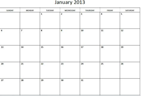 generic monthly calendar template 9 best images of 2013 printable calendar by month