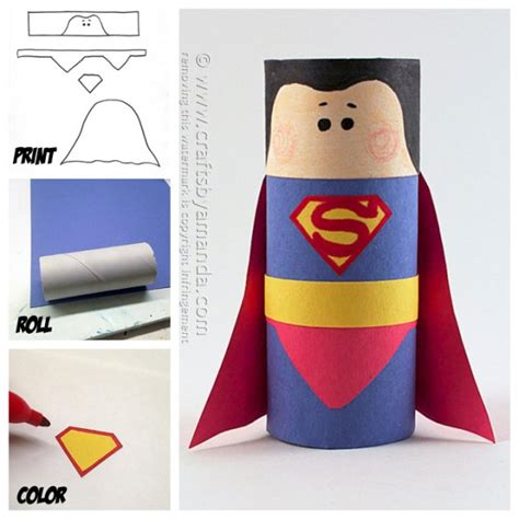Cool Things To Make Out Of Toilet Paper Rolls - cardboard superman craft crafts by amanda