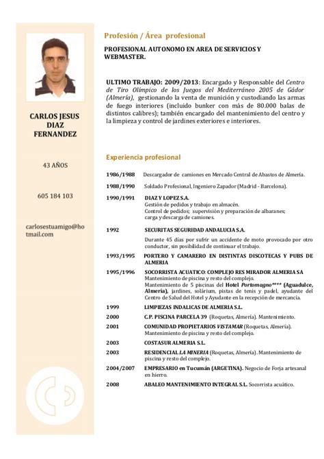 Plantilla De Curriculum Para Recepcionista Curriculum Carlos Con Plantilla Septiembre 2013 Pag1 Foto Nueva