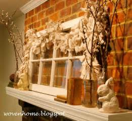 Woven home spring mantle and decorating with vintage windows