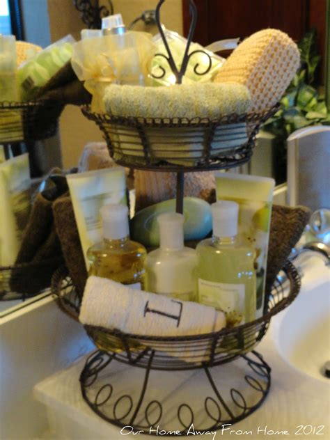 what to put in a bathroom basket for a wedding our home away from home tiered basket in the bathroom and