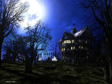 set the scene for a haunted mansion halloween party dark forest mansion screensaver