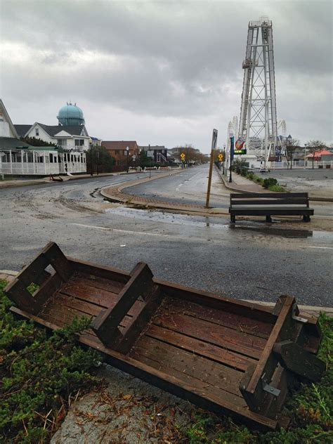 park bench baltimore maryland s ocean city wakes up to sandy damage