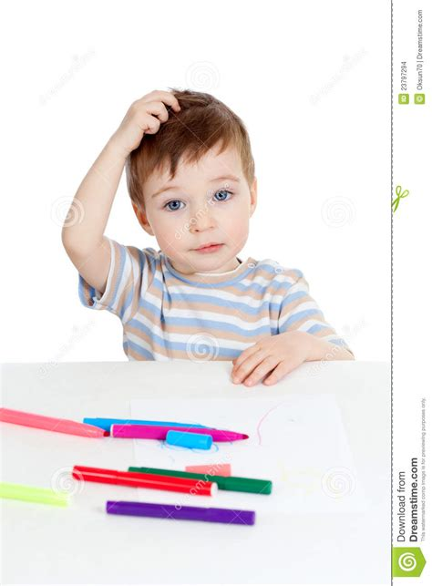 child color little puzzled child with color pen stock images image