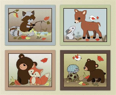 Woodland Animal Nursery Decor Forest Friends Woodland Animal Owl Fox Baby Nursery Prints Wall Decor Ebay