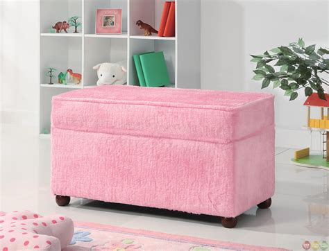 girls storage bench pink fuzzy upholstery girls bedroom toy storage bench