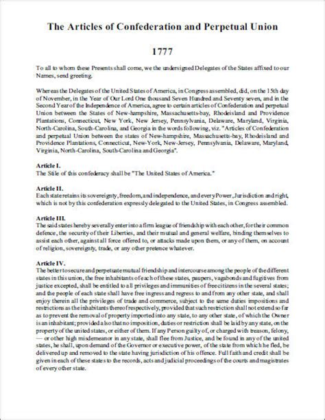 Articles Of Confederation Worksheet by Articles Of Confederation 1777 Free Printable Version