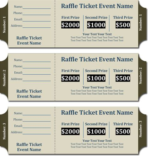 printable raffle tickets with numbers free free templates for raffle tickets