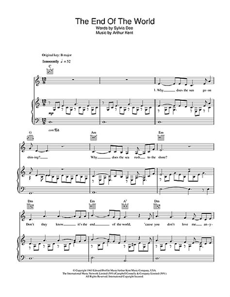 Wedding Bells Breaking Up Mine Lyrics by The End Of The World Sheet By Susan Boyle Piano