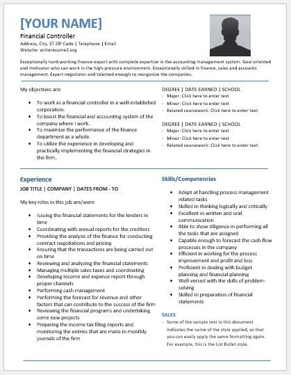 Financial Controller Resume Sample by Financial Controller Resume Templates For Ms Word Resume
