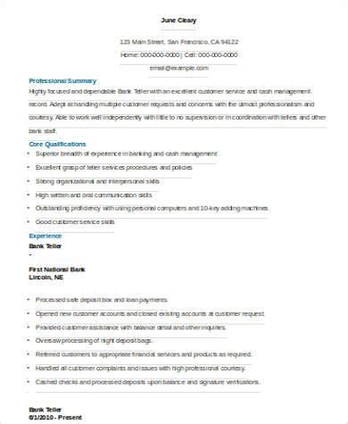 resume format pdf for bank sle bank teller resume 7 exles in word pdf