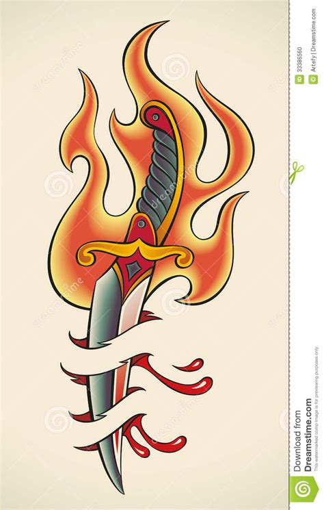 old tattoo flaming dagger stock photo image