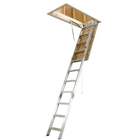 shop werner 12 ft aluminum 375 lb attic ladder at lowescom