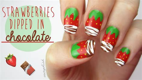 tutorial nail art strawberry strawberry nails dipped in real chocolate big news