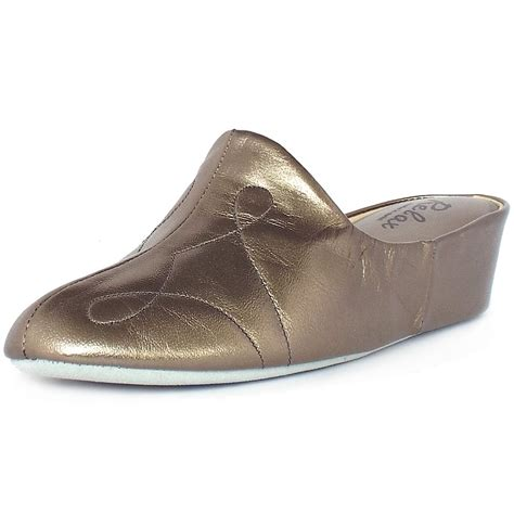 womens luxury slippers relax slippers dulcie dressy metallic leather wedge