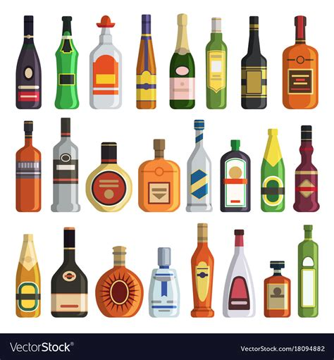 alcoholic drinks bottles different alcoholic drinks in bottles royalty free vector