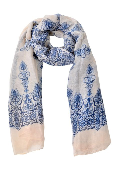 blue pattern scarf blue and white patterned scarf happiness boutique