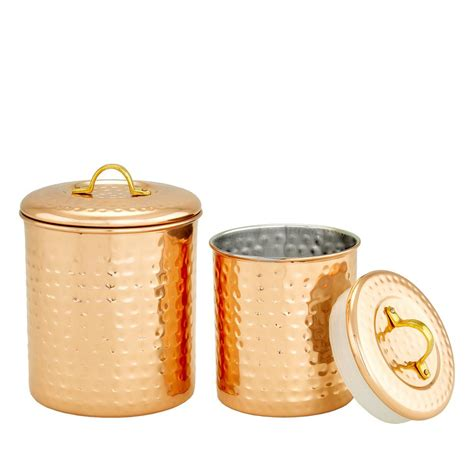 copper hammered canister set of four old dutch old dutch 2 piece copper hammered canister set 1 1 2 qt
