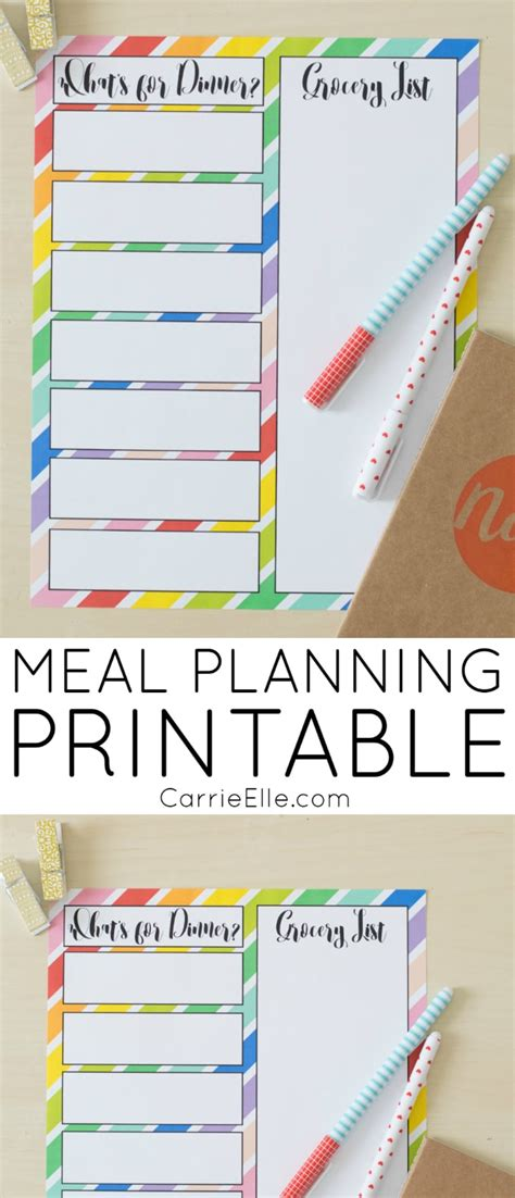 printable meal planner by carrie lindsey rainbow meal planning printable carrie elle