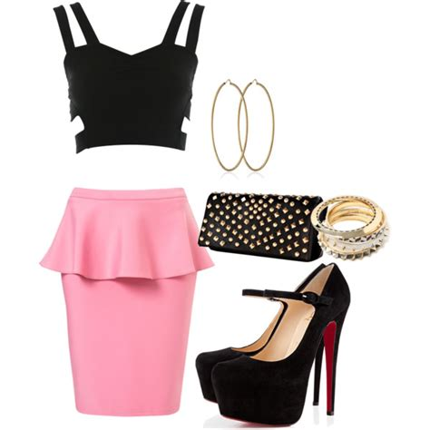 inspired with pencil skirt and black top polyvore
