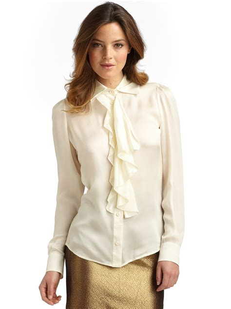 Blouse Ruffle boutique moschino silk satin ruffle blouse in white lyst
