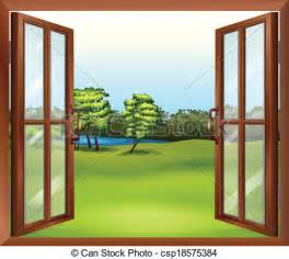 Flowers In Vase Clip Art Vector Of An Open Wooden Window Illustration Of An Open