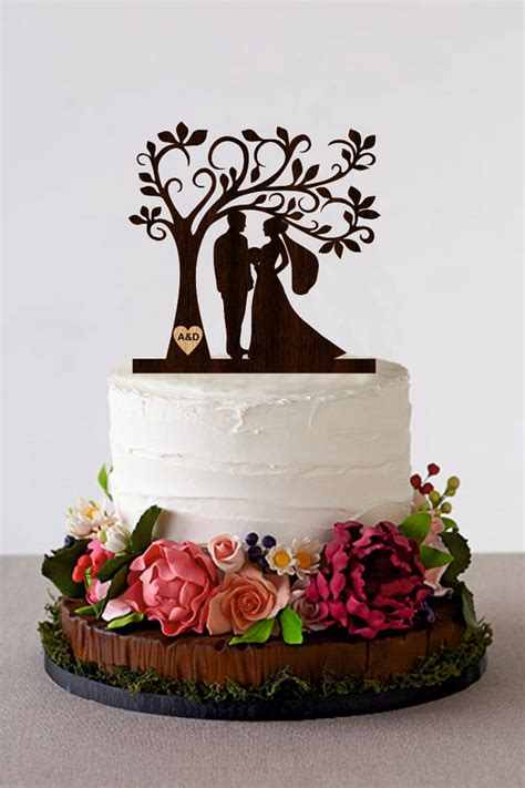 Hochzeitstorte Baum by Tree Wedding Cake Topper Personalized Monogram Cake Topper