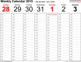 one week calendar template excel weekly calendar 2015 for pdf 12 free printable templates
